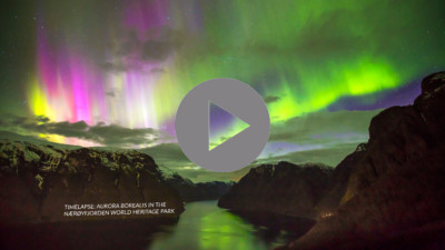 World First Timelapse Aurora Borealis Naeroyfjorden World Heritage Park